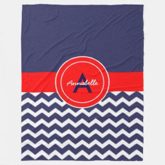 Dark Blue Red Chevron Fleece Blanket