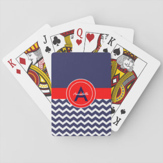 Dark Blue Red Chevron Playing Cards