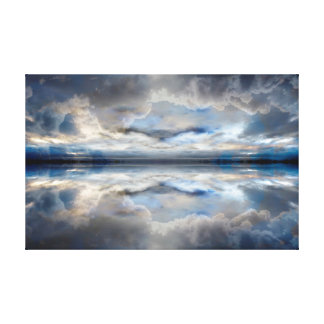 Dark blue reflected clouds canvas print