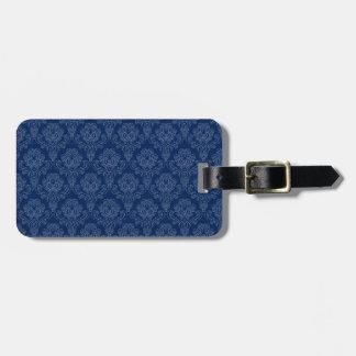 Dark Blue Retro Floral Luggage Tag