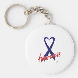 Dark Blue Ribbon Awareness Design Basic Round Button Key Ring