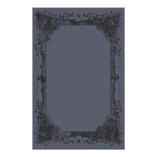 Dark Blue Romantic French Flourish Stationery
