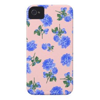 Dark Blue Roses floral pattern - coral orange pink Case-Mate iPhone 4 Case