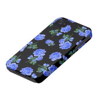 Dark Blue Roses floral pattern on black iPhone 4 Case