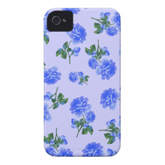 Dark Blue Roses floral pattern on purple iphone 4 Case-Mate iPhone 4 Case