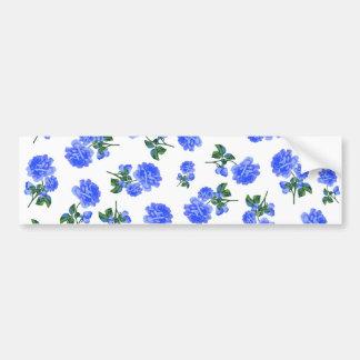 Dark Blue Roses floral pattern on White Bumper Sticker
