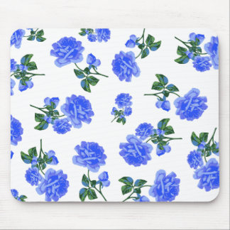 Dark Blue Roses floral pattern on White Mouse Pad