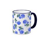 Dark Blue Roses floral pattern on White Mug
