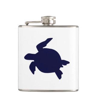Dark Blue Sea Turtle Hip Flask