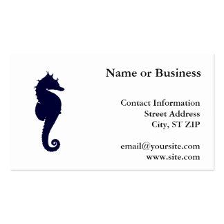 Dark Blue Seahorse Business Card Template