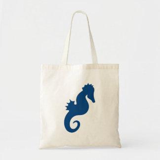 Dark Blue Seahorse Silhouette Budget Tote Bag