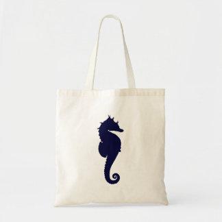 Dark Blue Seahorse Tote Bags