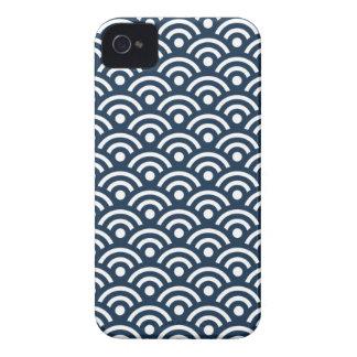Dark Blue Seigaiha Pattern Iphone 4/4S Case