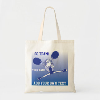 Dark Blue Silhouette Cheerleader Girl Tote Bag