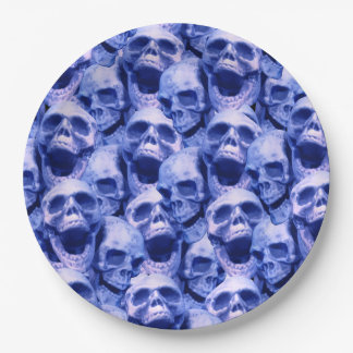Dark Blue Skulls 9 Inch Paper Plate