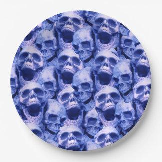 Dark Blue Skulls Paper Plate