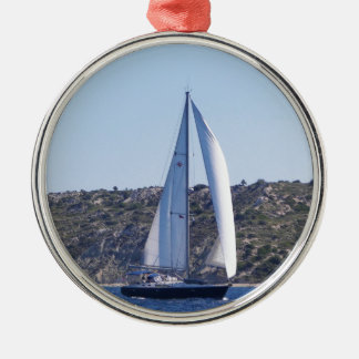 Dark Blue Sloop Christmas Ornament