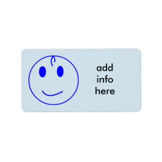 Dark Blue Smiley Face Label