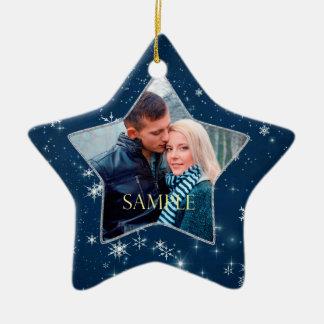 Dark Blue Snowflake Star Christmas Ornament