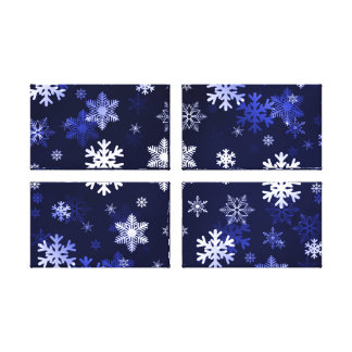 Dark Blue Snowflakes Stretched Canvas Print