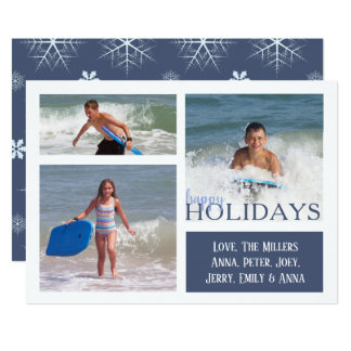 Dark blue Snowflakes MULTI Double Sided Card