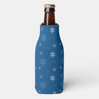 Dark Blue Snowflakes Pattern Falling Snow Flakes Bottle Cooler