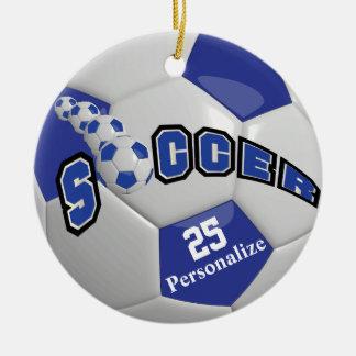 Dark Blue Soccer Ball | Personalize Round Ceramic Decoration