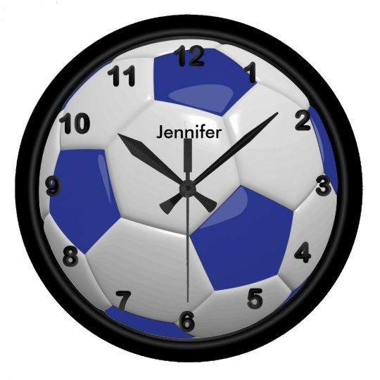 Dark Blue Soccer Ball Style Large Clock
