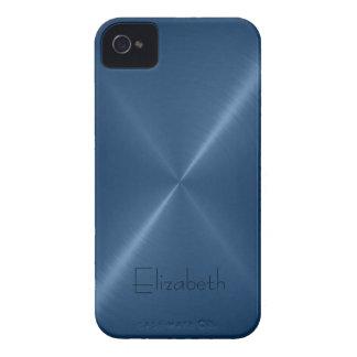 Dark Blue Stainless Steel Metal Look Case-Mate iPhone 4 Cases