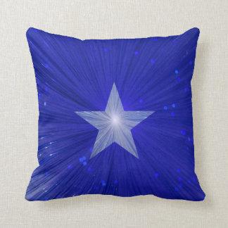 Dark Blue Star printed throw pillow square