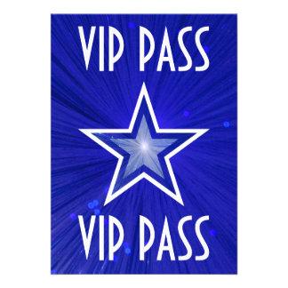 Dark Blue Star 'VIP PASS' invitation white