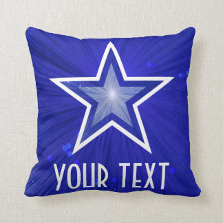 Dark Blue Star 'Your Text' throw pillow square