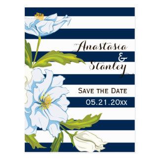 Dark blue stripes & flowers wedding Save the Date Postcard