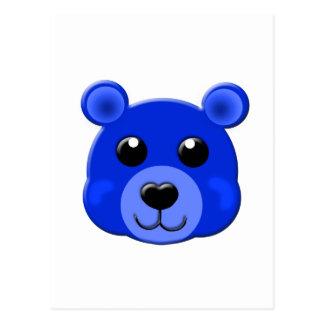 dark blue teddy bear face postcard