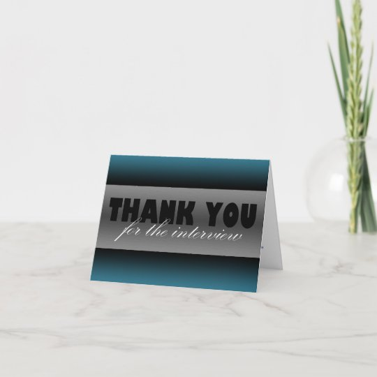 """dark blue """"thank you for the interview"""" card  zazzlecouk"""