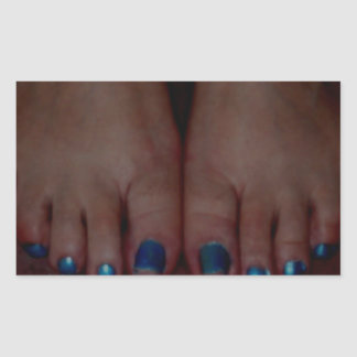 DARK BLUE TOES RECTANGLE STICKERS