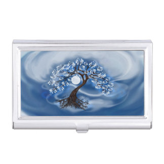 Dark Blue Tree of Life Business Card Case