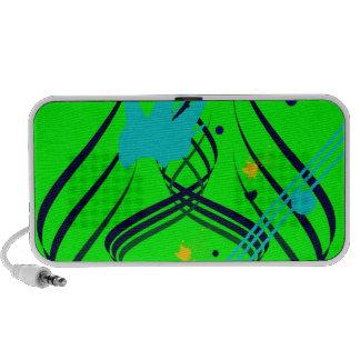 Dark Blue Vectors on Lime Doodle Speakers