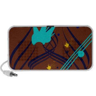 Dark Blue Vectors on Milk Chocolate Doodle iPhone Speaker