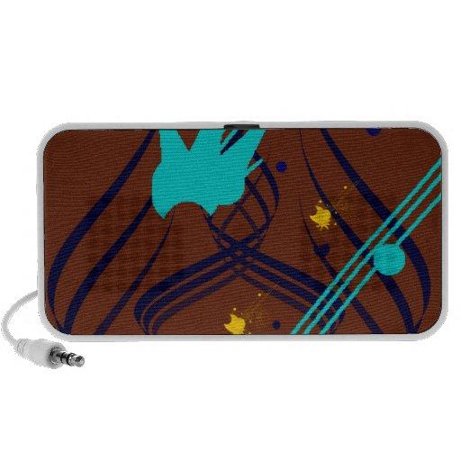 Dark Blue Vectors on Milk Chocolate Doodle Portable Speaker