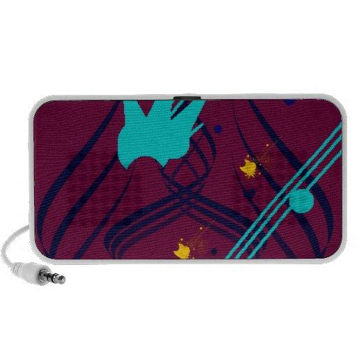 Dark Blue Vectors on Plum Doodle Laptop Speakers