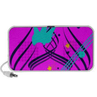 Dark Blue Vectors on Sizzlin' Pink Doodle Laptop Speaker