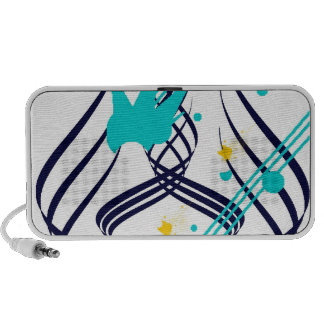 Dark Blue Vectors on Snow White Doodle Speaker System