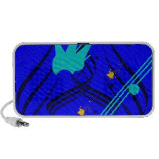 Dark Blue Vectors on True Blue Doodle PC Speakers