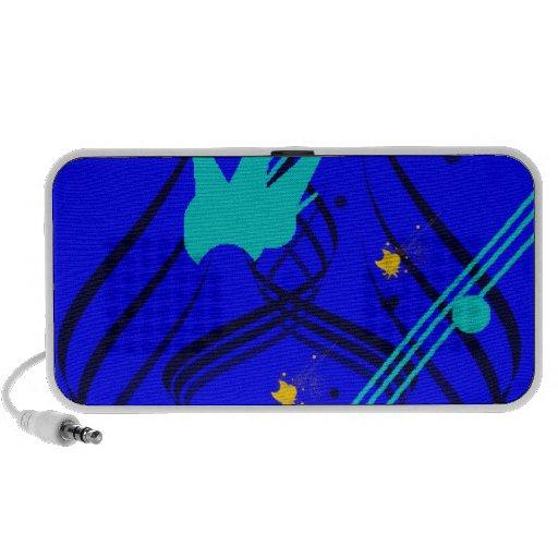 Dark Blue Vectors on True Blue Doodle Laptop Speaker
