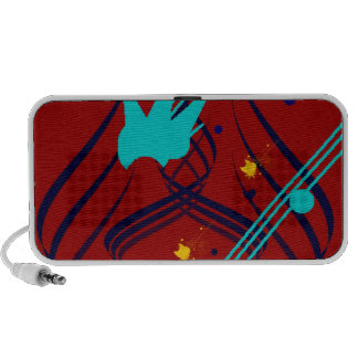 Dark Blue Vectors on Vivid Red Doodle Portable Speakers