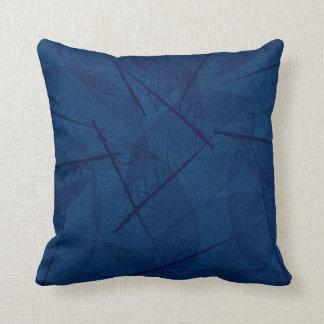 Dark Blue Vein Leaf Design Throw Pillow