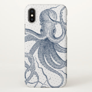 Dark-Blue Vintage Octopus & Dots Pattern iPhone X Case