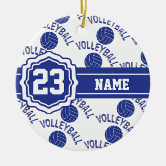 Dark Blue Volleyball Christmas Ornament
