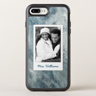 Dark Blue Watercolor | Add Photo OtterBox Symmetry iPhone 8 Plus/7 Plus Case